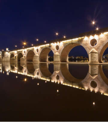 Bridge at Badajoz, Spain nicely lit by Philips outdoor lighting