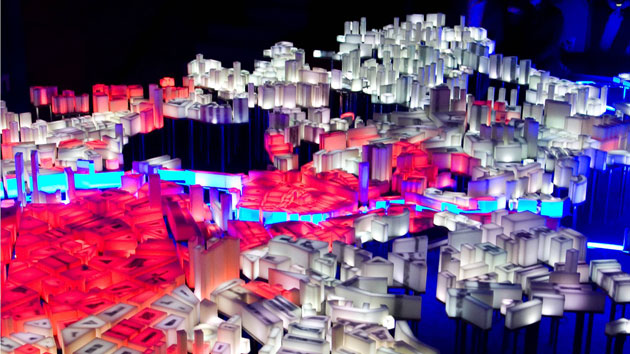 light sculpture represents Bilbao's evolution