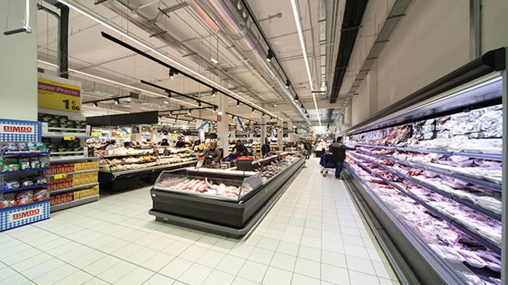 Shoppers use the visual appearance of meat and fish to decide its freshness at Carrefour Santiago