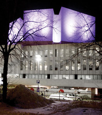 Purple ColorReach floodlights draw attention to the beautiful Finlandia Hall building