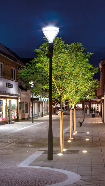 Philips Metronomis LED city street lights are a perfect choice for the urban lighting at City center Naestved, Denmark