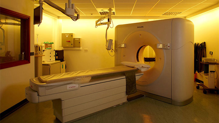 MRI scans are completed in this Princess Alexandra Hospital examination room, lit using Philips hospital lighting