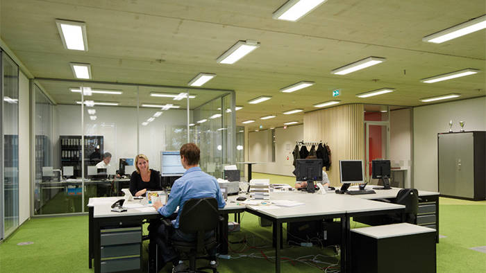 Philips commercial lighting illuminates this office at Venco Campus
