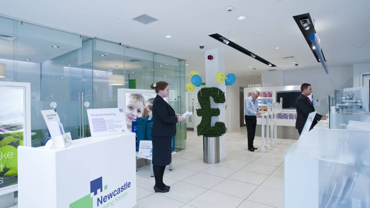 Energy efficient LED lighting at Newcastle building society office by Philips