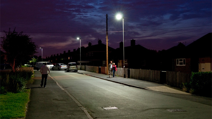 Philips street lighting system illuminates effectively a street at Orford, UK