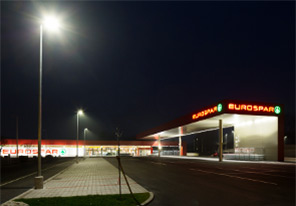 Outdoor parking at Eurospar, Vienna, Austria illuminated with Philip LED lighting